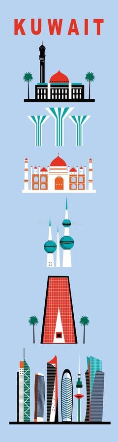 Símbolos de Kuwait ilustración del vector