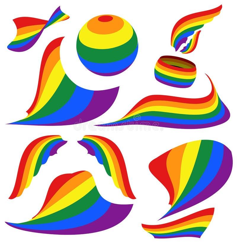 Símbolos de la bandera del orgullo del arco iris de LGBT, del círculo, de las alas y de la vela, cinta de la silueta stock de ilustración