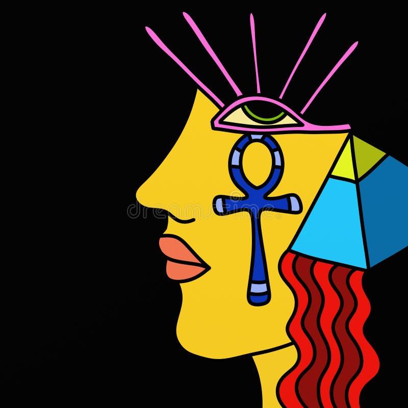 Símbolos de la cara y del egipcio stock de ilustración