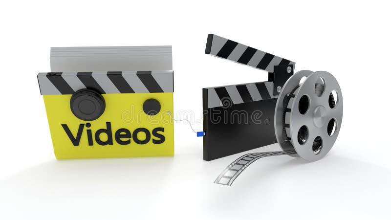 Símbolos de la carpeta de los vídeos, representación 3d fotos de archivo libres de regalías