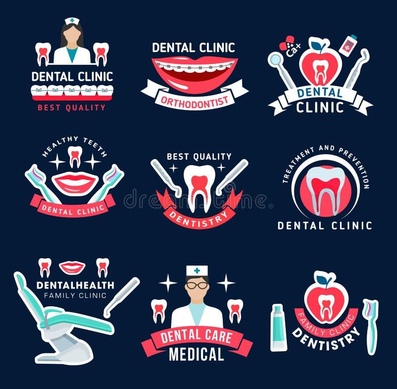 Símbolos de la clínica de la odontología y del cuidado dental ilustración del vector