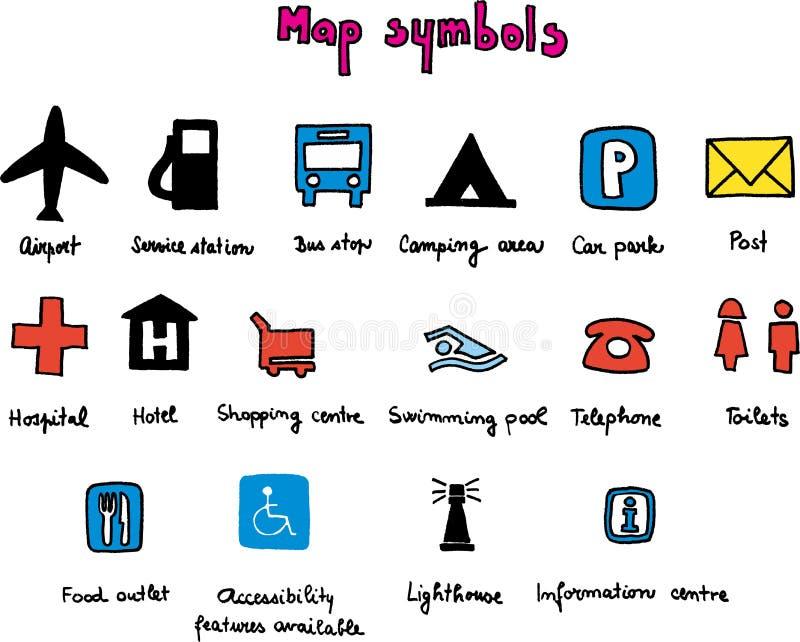 Símbolos de la correspondencia stock de ilustración