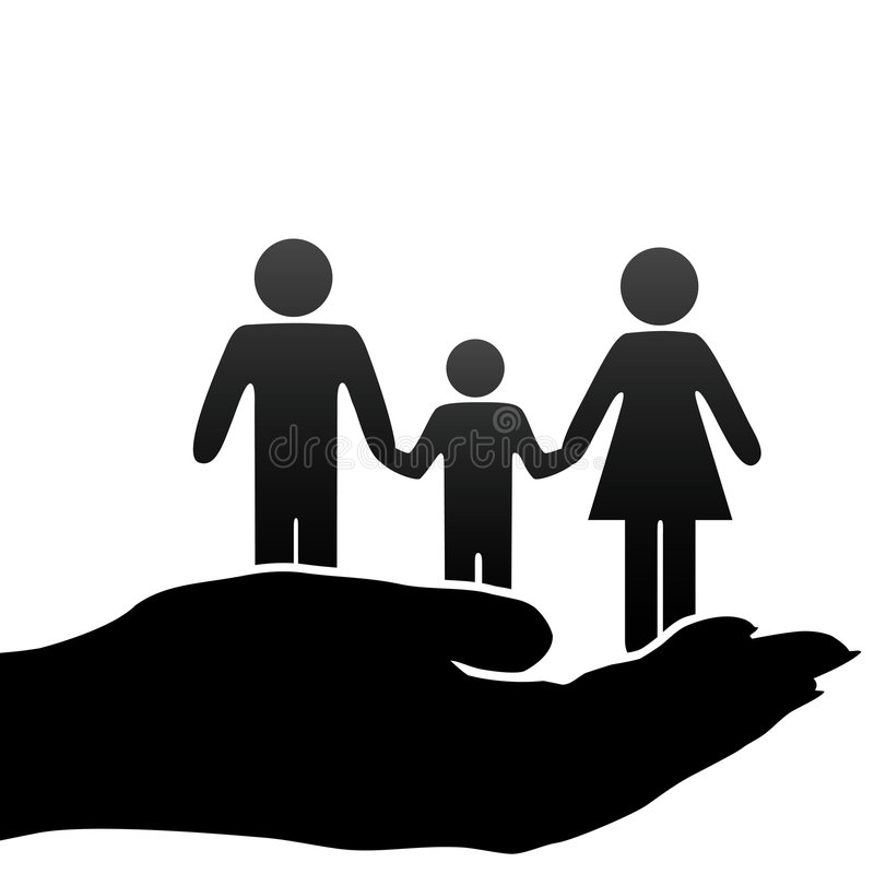 Símbolos de la familia del niño del padre de la madre en mano ahuecada stock de ilustración