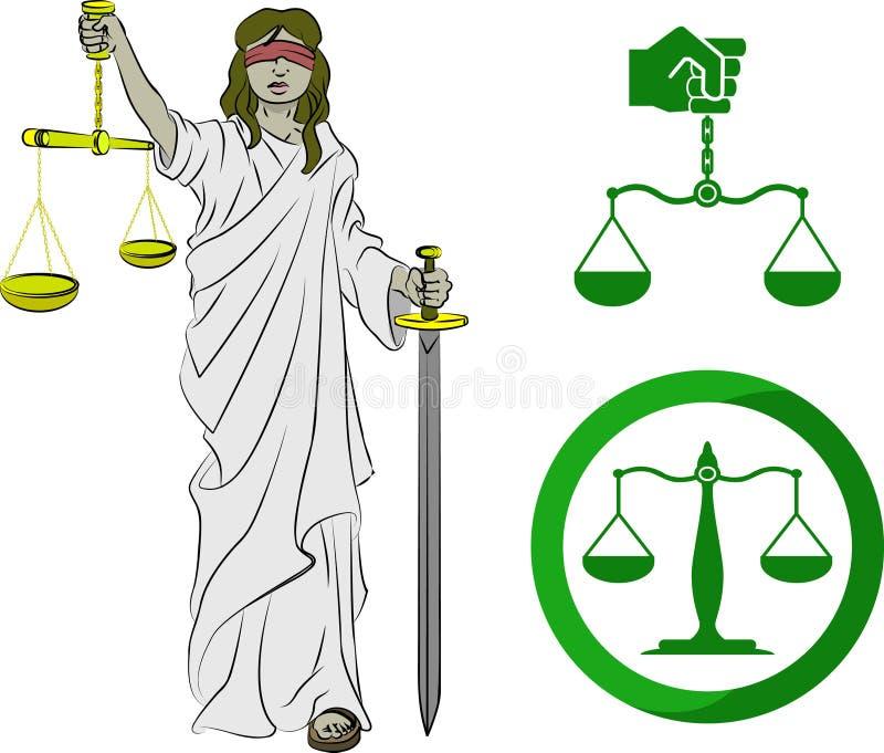 Símbolos de la justicia stock de ilustración
