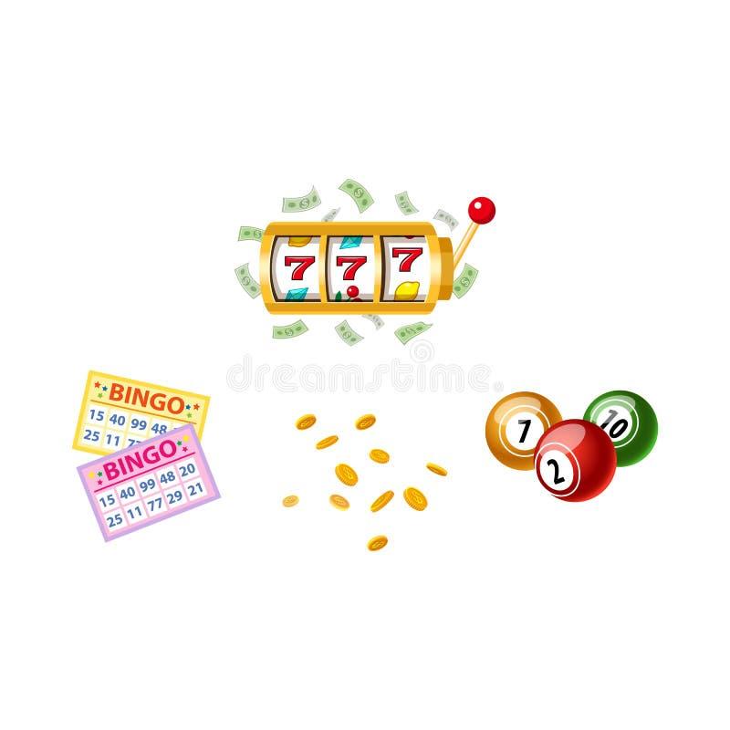 Símbolos de la lotería - máquina tragaperras, tarjetas del bingo, barriletes stock de ilustración