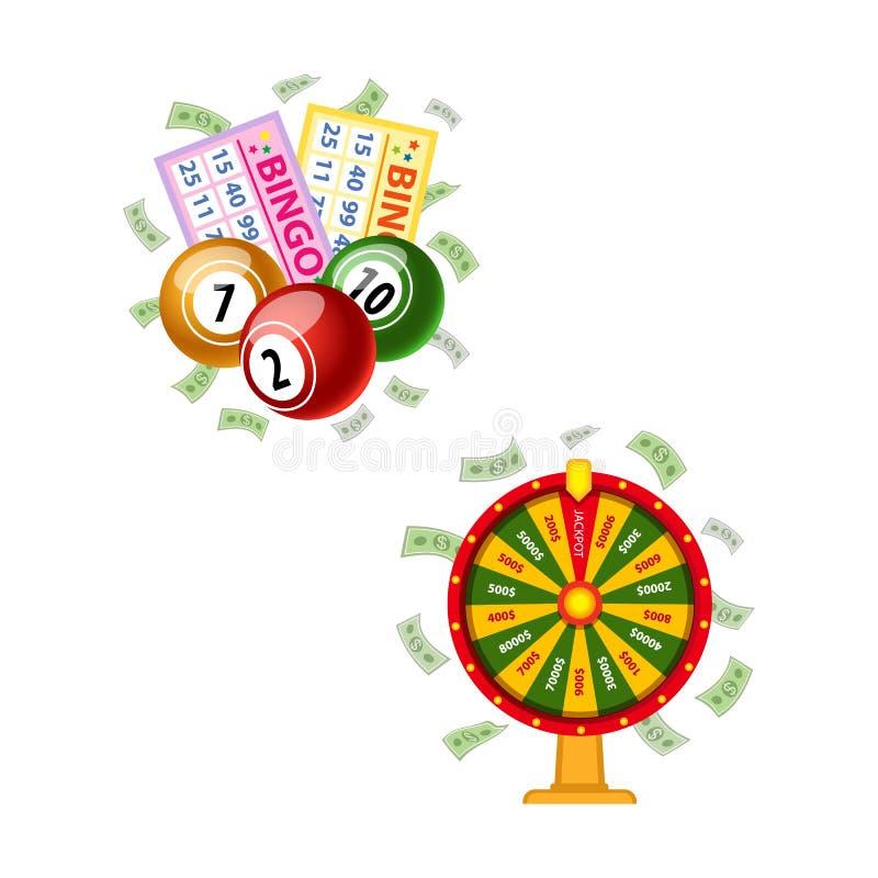 Símbolos de la lotería - rueda de la fortuna, tarjetas del bingo, barriletes ilustración del vector