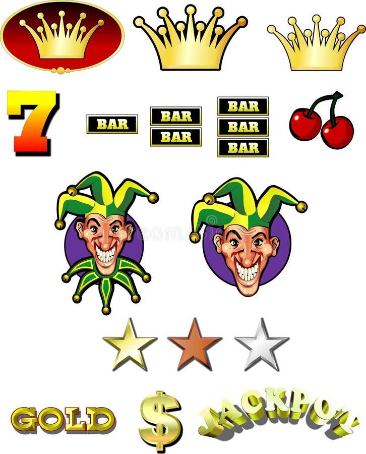 Símbolos de la máquina tragaperras del casino stock de ilustración