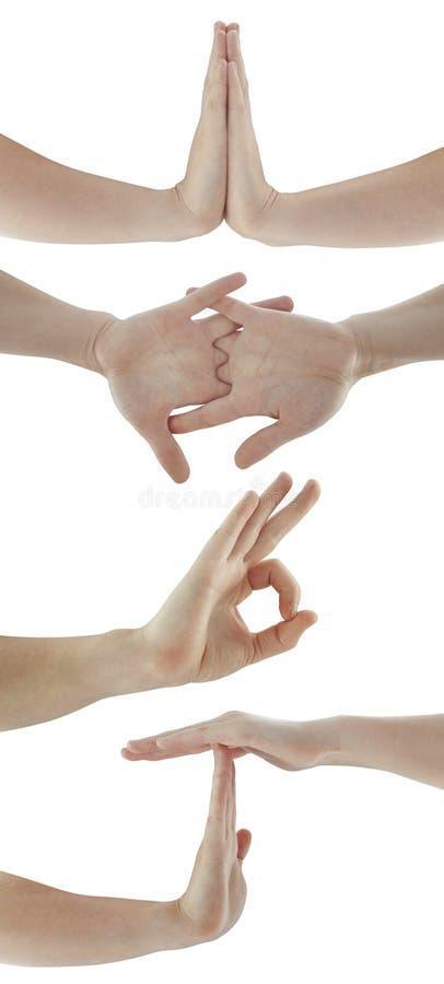 Símbolos de la mano aislados en blanco imagenes de archivo