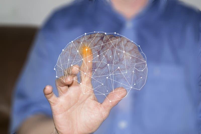 Símbolos de la mano y de los órganos humanos en las pantallas virtuales fotos de archivo libres de regalías