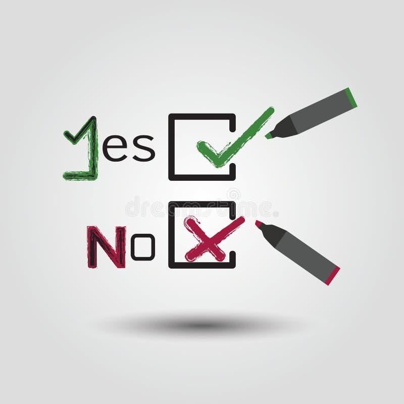 Símbolos de la marca de verificación y de la cruz en cajas de control libre illustration