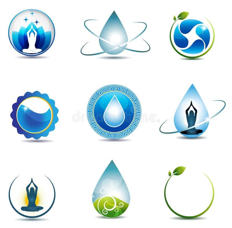 Símbolos de la naturaleza y de la atención sanitaria stock de ilustración