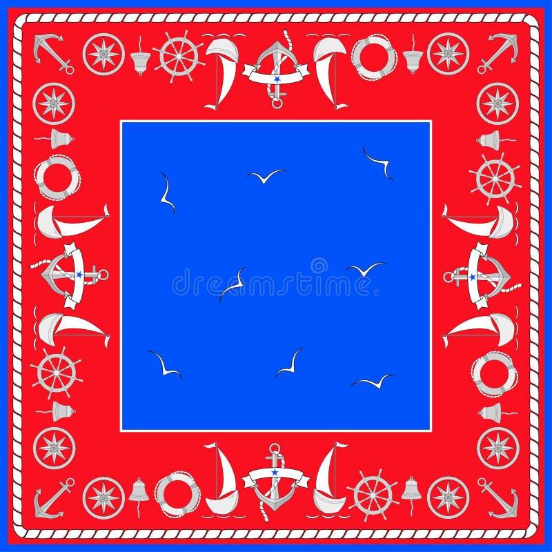 Símbolos de la navegación, veleros, gaviotas Composición cuadrada con la frontera Vector aislado color en estilo náutico en la fo ilustración del vector
