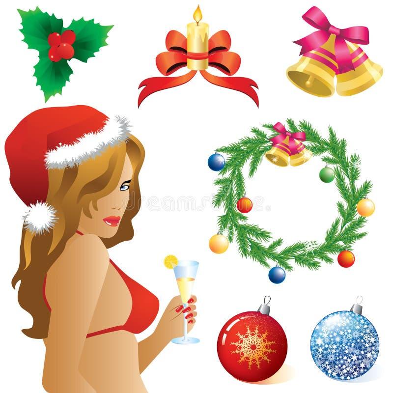 Símbolos de la Navidad ilustración del vector