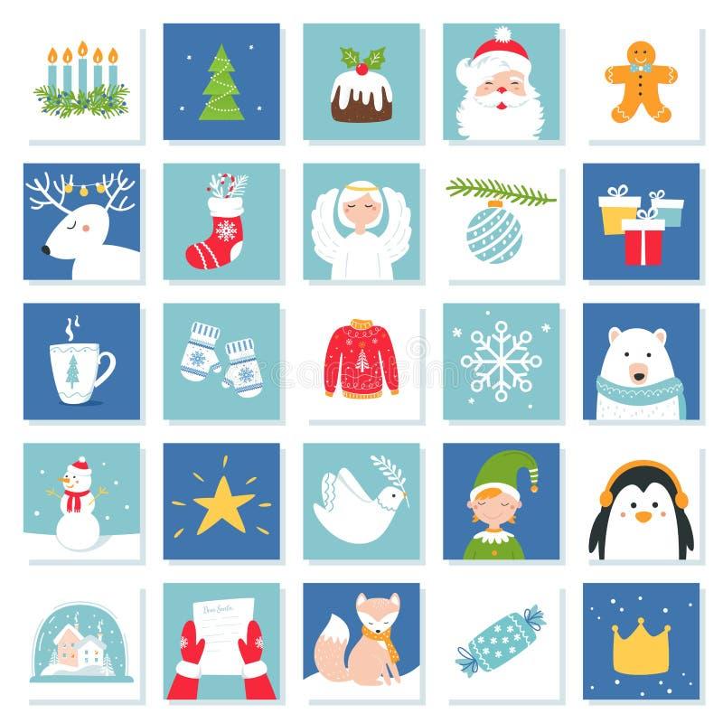 Símbolos de la Navidad y de la celebración del Año Nuevo Tarjetas de juego de Advent Calendar o del bingo Sistema del vector ilustración del vector