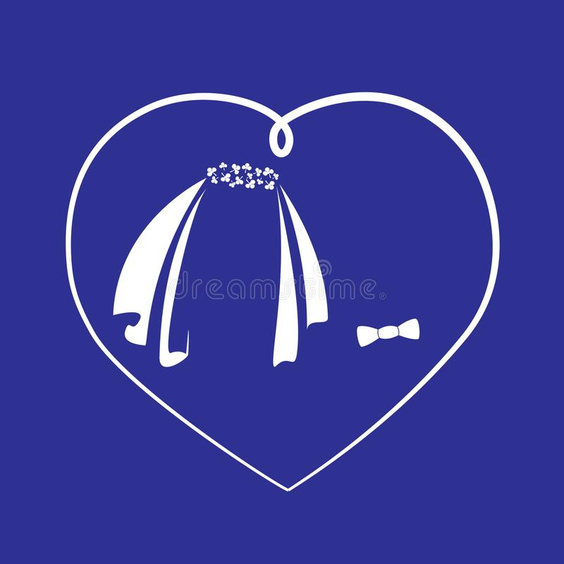 Símbolos de la novia y el novio bajo la forma de velo y una corbata de lazo en un marco del corazón Vector linear aislado libre illustration