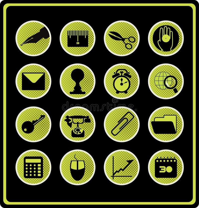 Símbolos de la oficina - verde. stock de ilustración