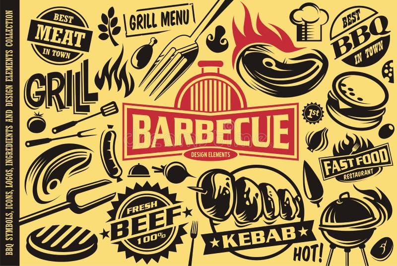 Símbolos de la parrilla y de la barbacoa, iconos, etiquetas, logotipos y elementos del diseño libre illustration