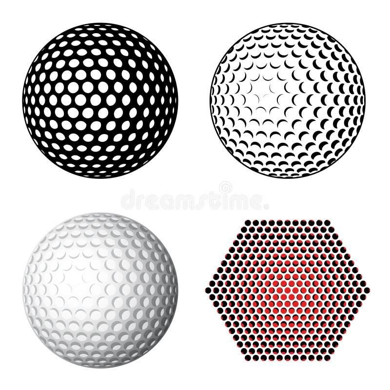Símbolos de la pelota de golf ilustración del vector