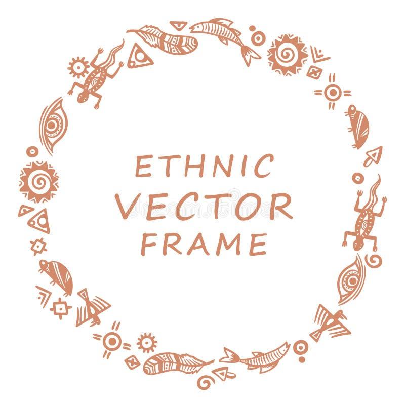 Símbolos de la pintura de cuevas - marco redondo para el texto ilustración del vector