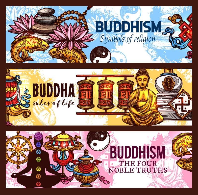 Símbolos de la religión del budismo, bosquejo del vector libre illustration