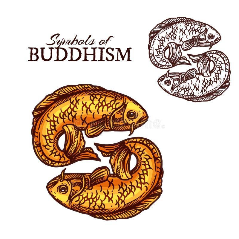 Símbolos de la religión del budismo, pescados de oro de la carpa stock de ilustración