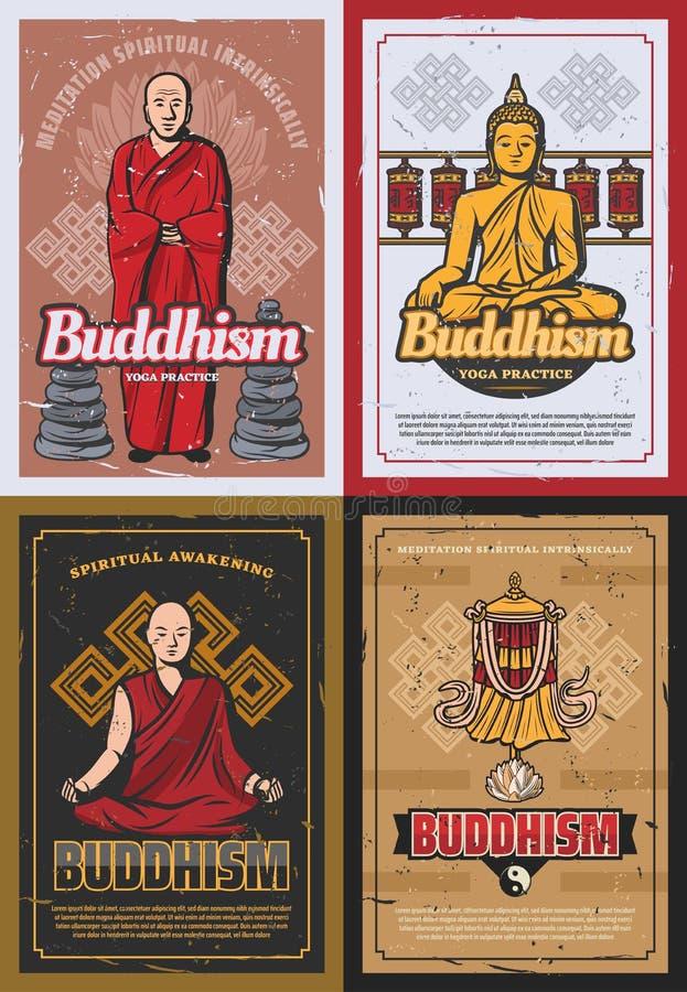 Símbolos de la religión del budismo y monjes budistas stock de ilustración