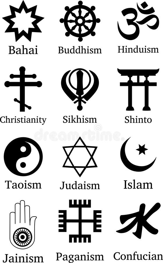 Símbolos de la religión del mundo stock de ilustración