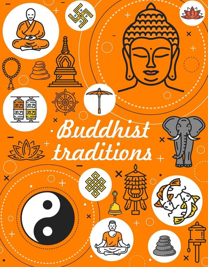 Símbolos de la religión y de la meditación del budismo ilustración del vector