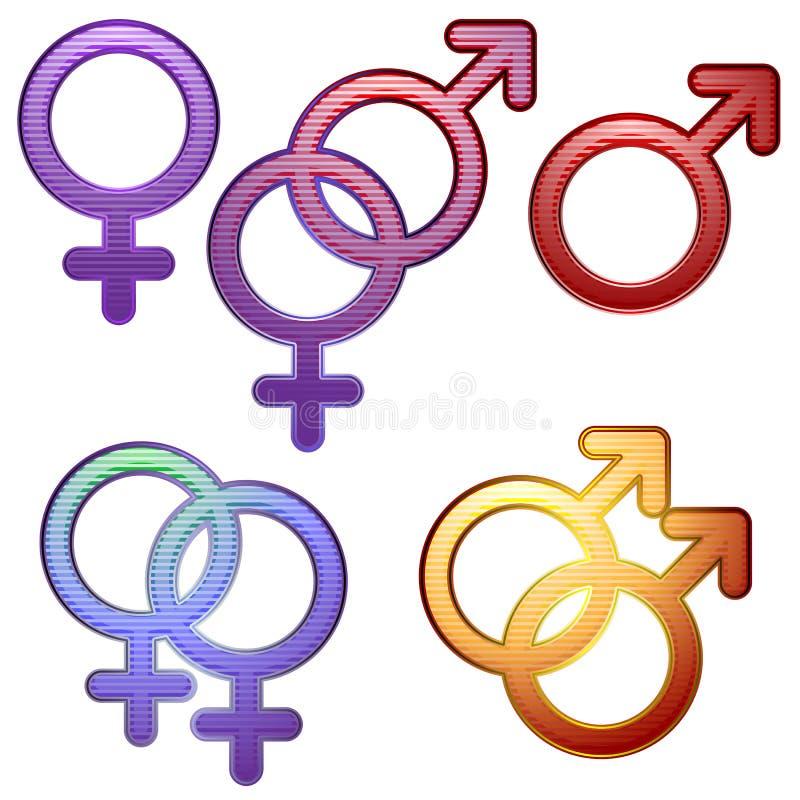 Símbolos de la sexualidad ilustración del vector