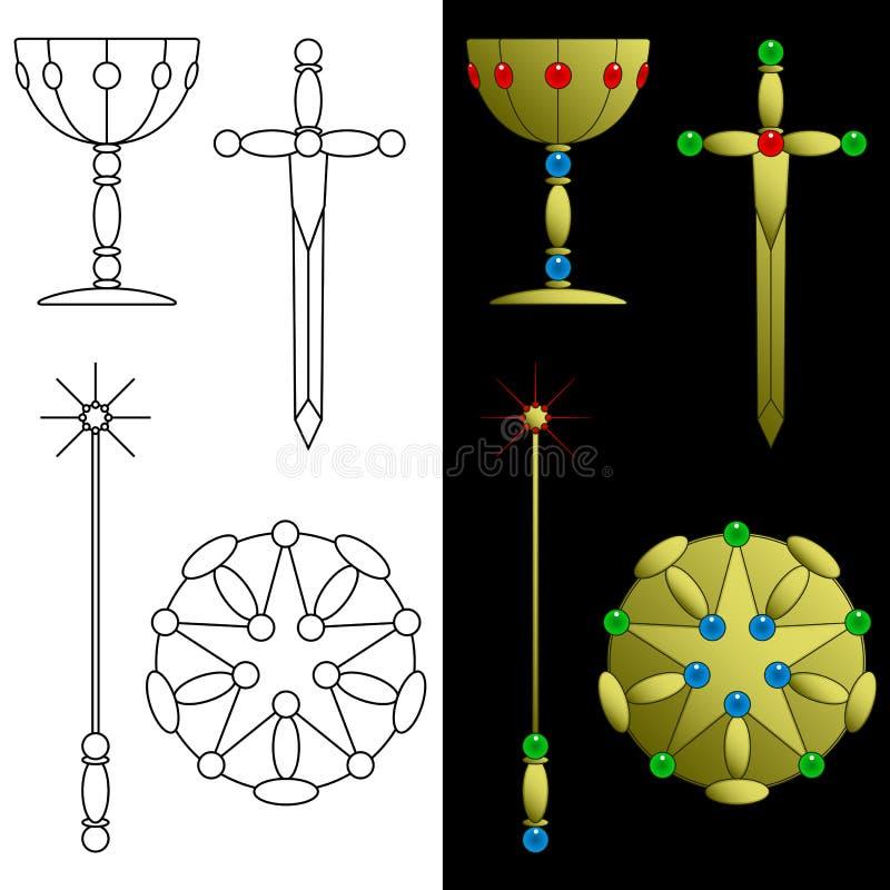 Símbolos de la tarjeta de Tarot stock de ilustración