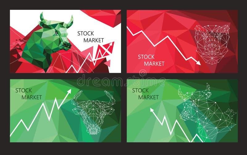 Símbolos de la tendencia del mercado de acción Sistema de banderas horizontales stock de ilustración