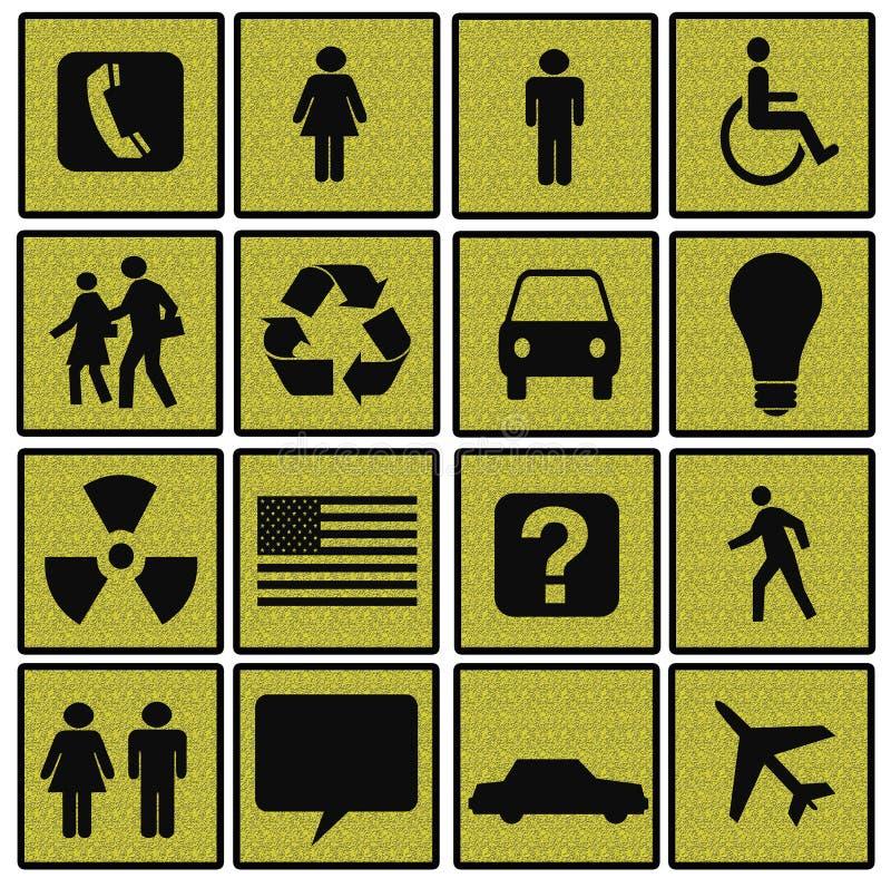Símbolos de la vida moderna en cuadrados Textured libre illustration