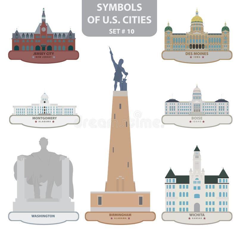 Símbolos de las ciudades de los E.E.U.U. ilustración del vector