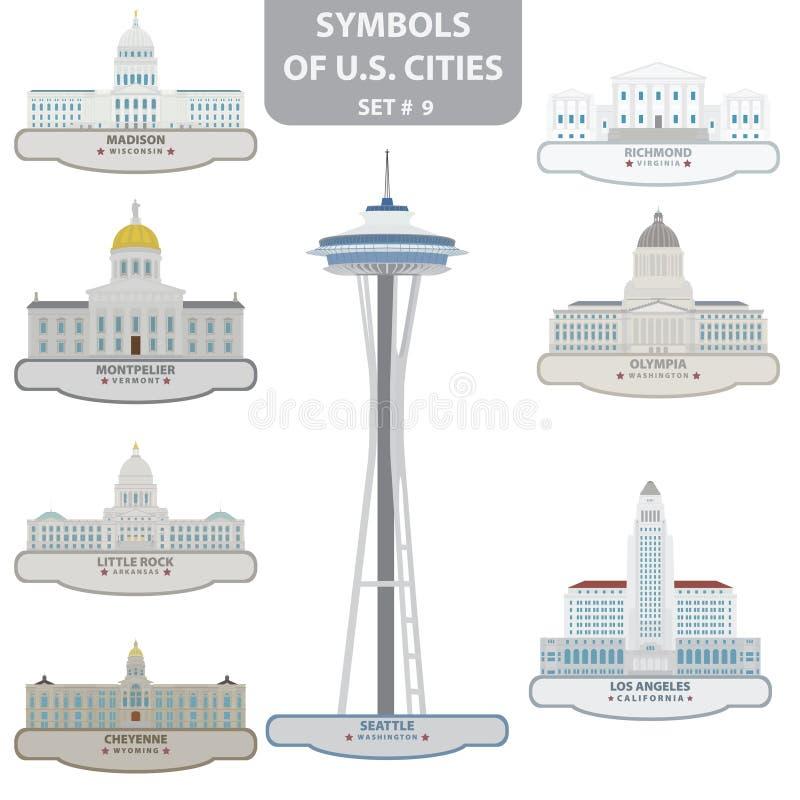 Símbolos de las ciudades de los E.E.U.U. stock de ilustración