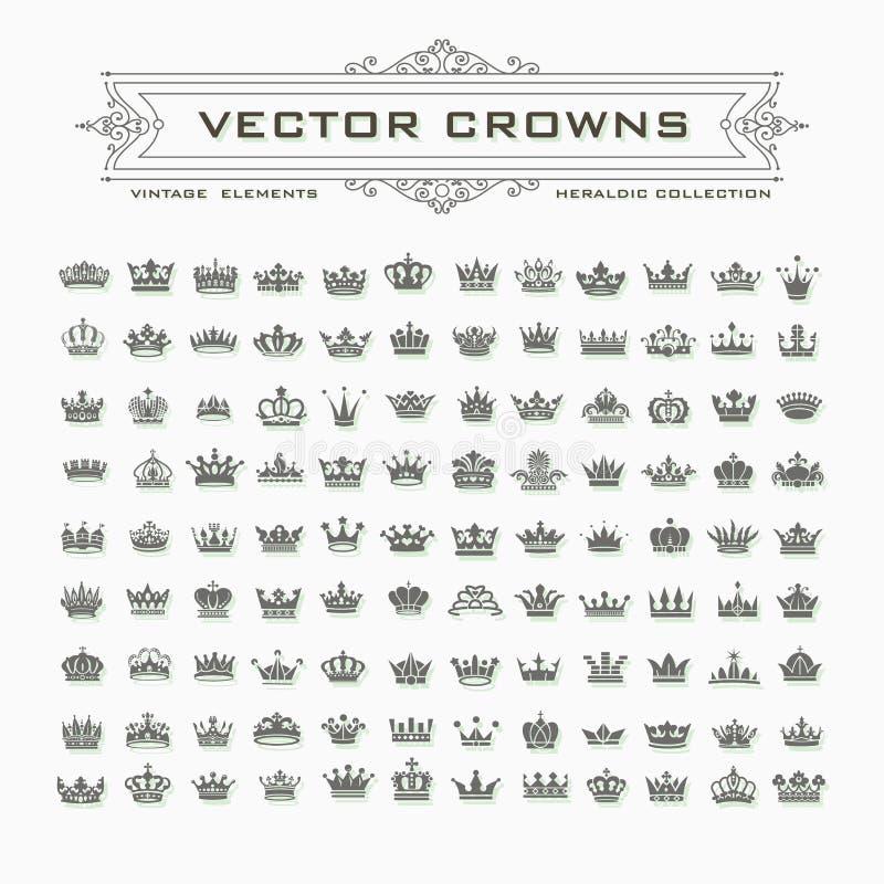Símbolos de las coronas del rey y de la reina stock de ilustración