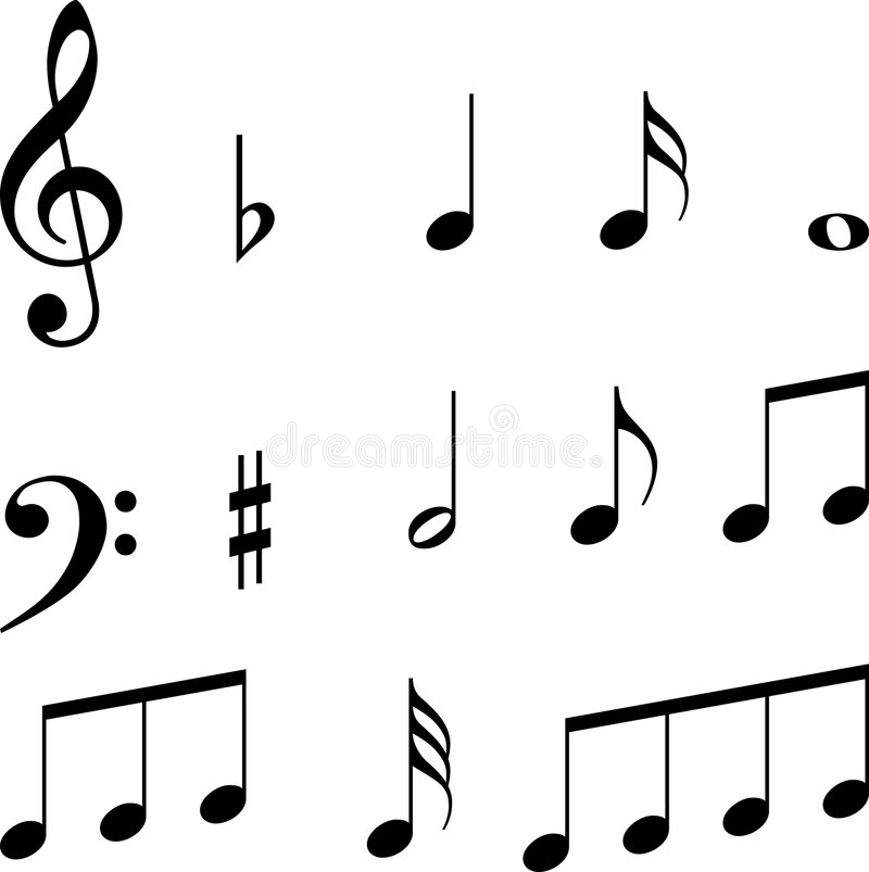 Símbolos de las notas musicales stock de ilustración