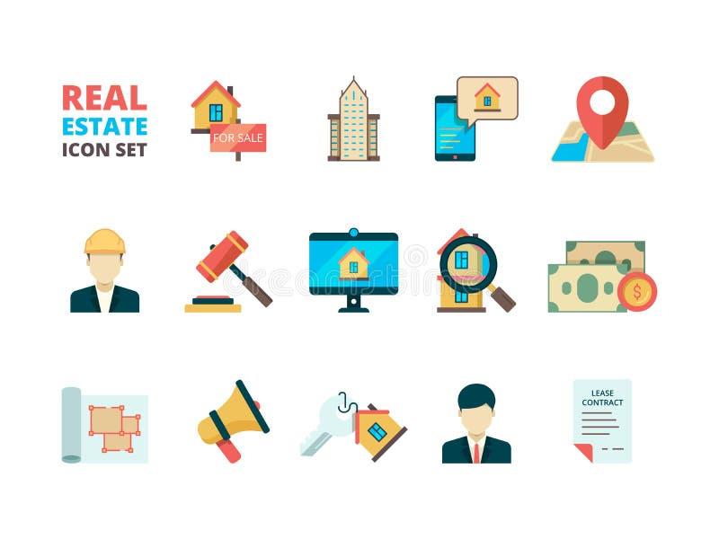 Símbolos de las propiedades inmobiliarias Seguro de propietario del agente inmobiliario del encargado de venta de casas de la pro ilustración del vector