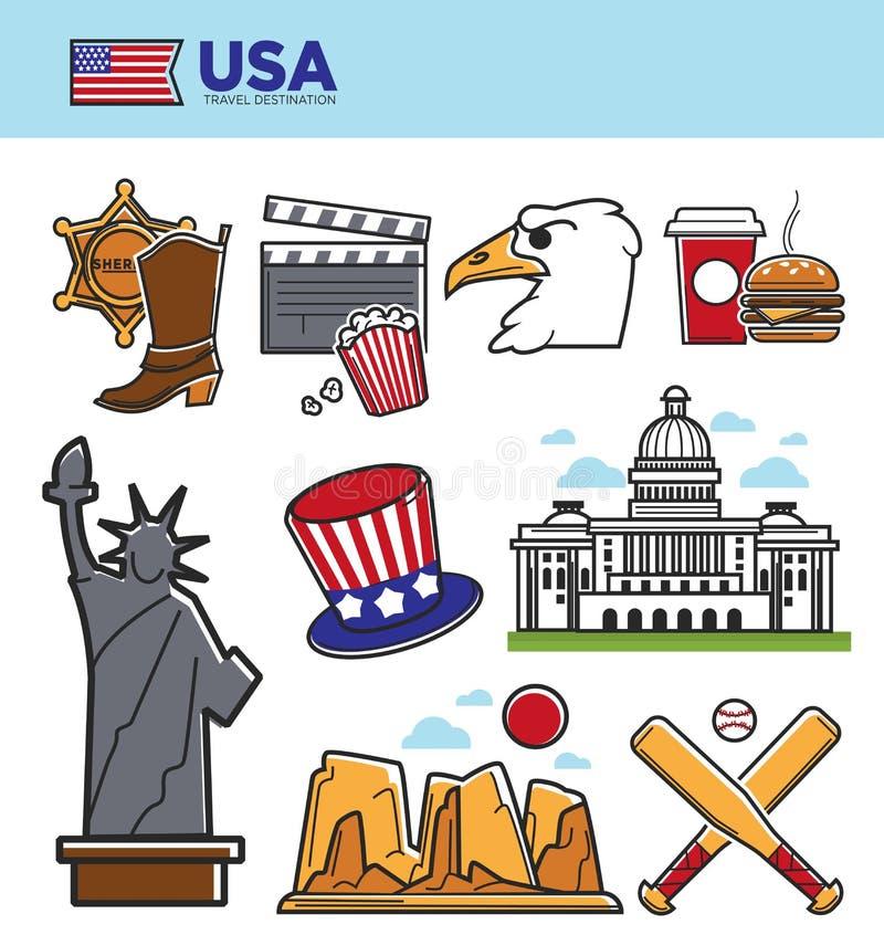 Símbolos de las señales del viaje de los E.E.U.U. América e iconos de la atracción turística de la cultura americana fijados libre illustration