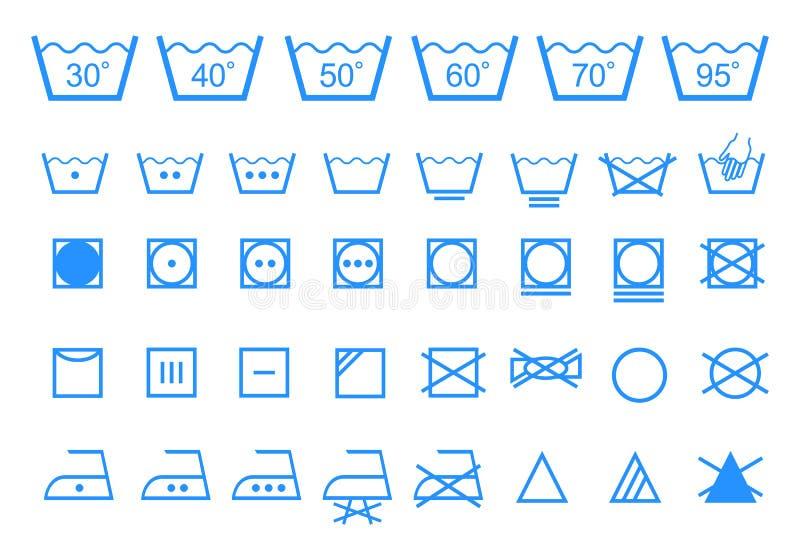 Símbolos de lavagem do cuidado, grupo do ícone do vetor ilustração royalty free