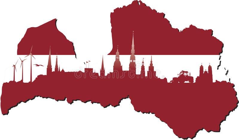 Símbolos de Letonia del negocio e historia del estado libre illustration