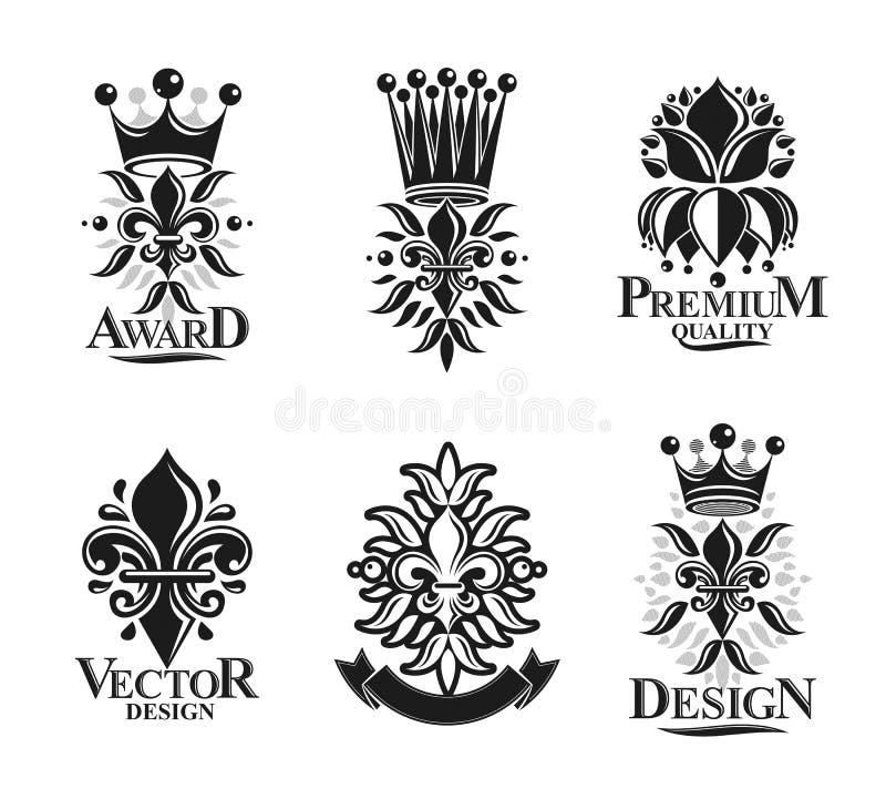 Símbolos de Lily Flowers Royal, floral y coronas, emblemas fijados Ejemplos aislados logotipos decorativos heráldicos del vector  ilustración del vector