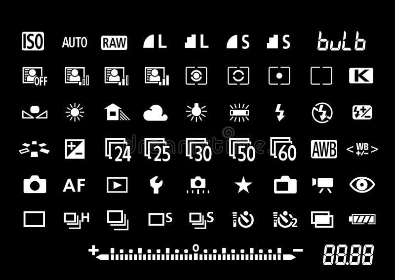 Símbolos de los ajustes de la cámara ilustración del vector