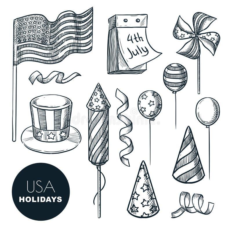 Símbolos de los días de fiesta de los E.E.U.U. Ejemplo del bosquejo del vector Elementos aislados del diseño para el Día de la In libre illustration