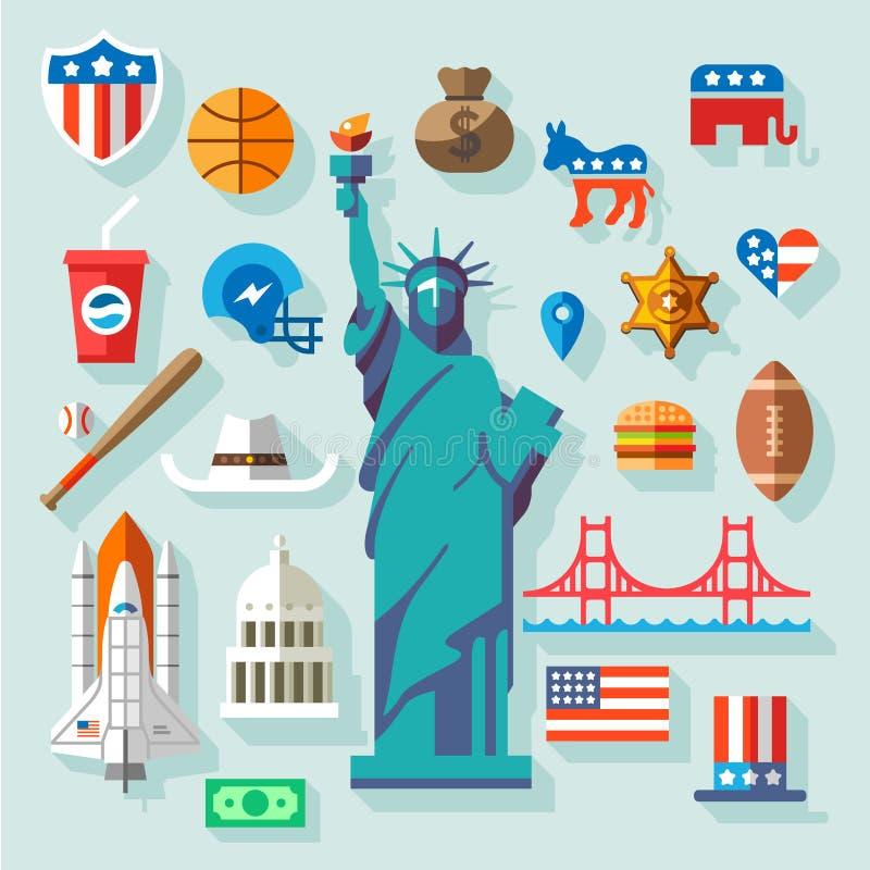 Símbolos de los E.E.U.U. stock de ilustración