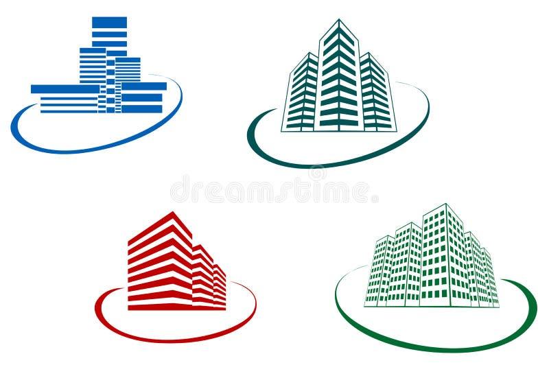Símbolos de los edificios stock de ilustración