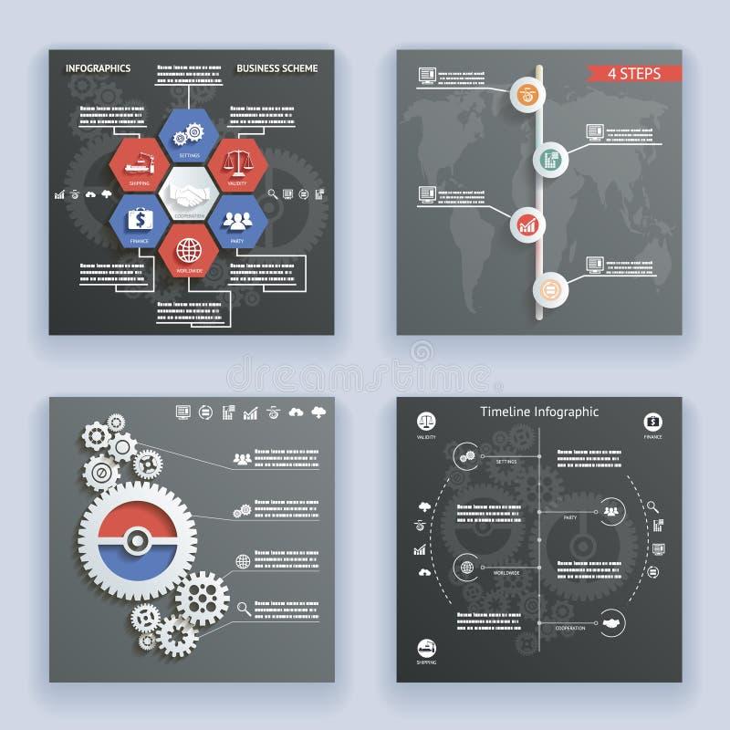 Símbolos de los elementos de Infographics y plantilla retra del diseño del estilo del vintage de la cronología del mapa del mundo ilustración del vector