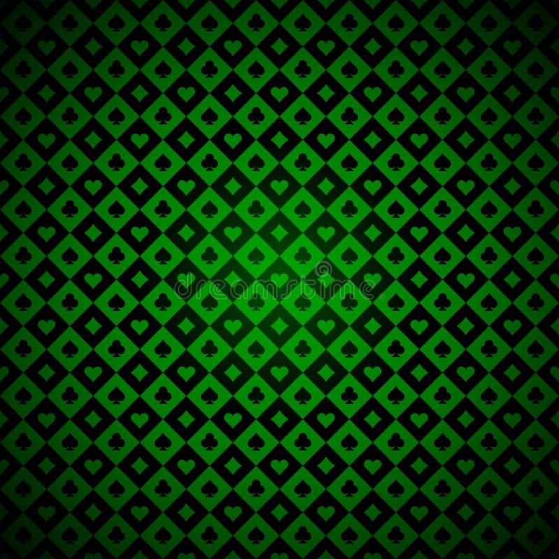Símbolos de los naipes verdes y fondo negro del casino ilustración del vector