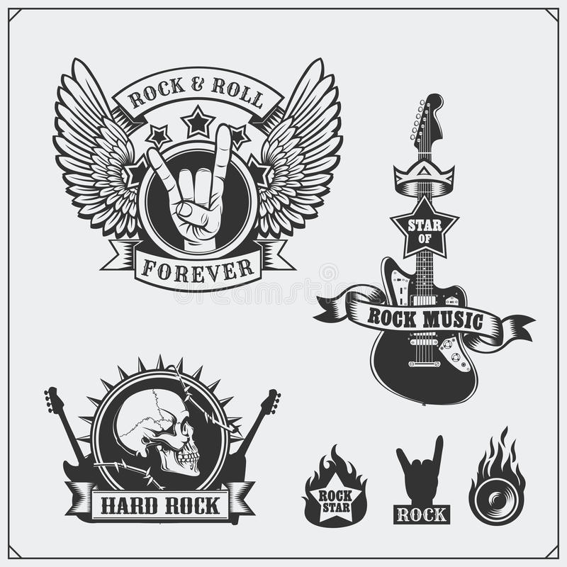 Símbolos de música do rolo do ` do ` n da rocha, etiquetas, logotipos e elementos do projeto ilustração stock