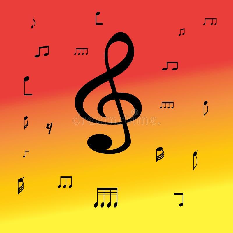 Símbolos de música en fondo del color libre illustration