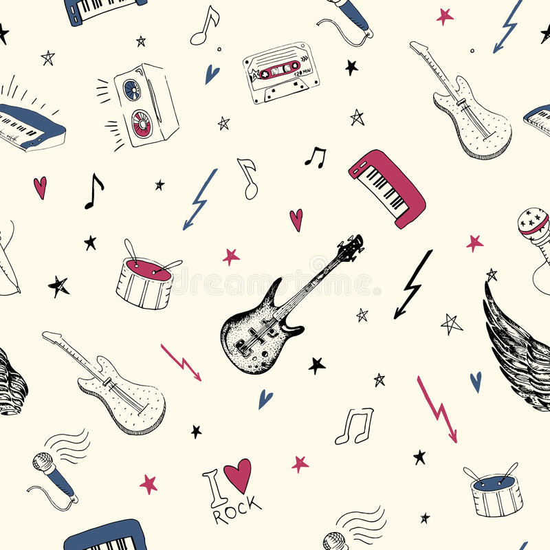 Símbolos de música Modelo inconsútil texturas del fondo de la música rock, stock de ilustración